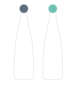 Stylized image of two bottles