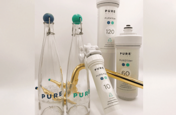 PURE WATER production collection. PUREclassic bottle, PUREslim Brass and NEW PUREfilter range.
