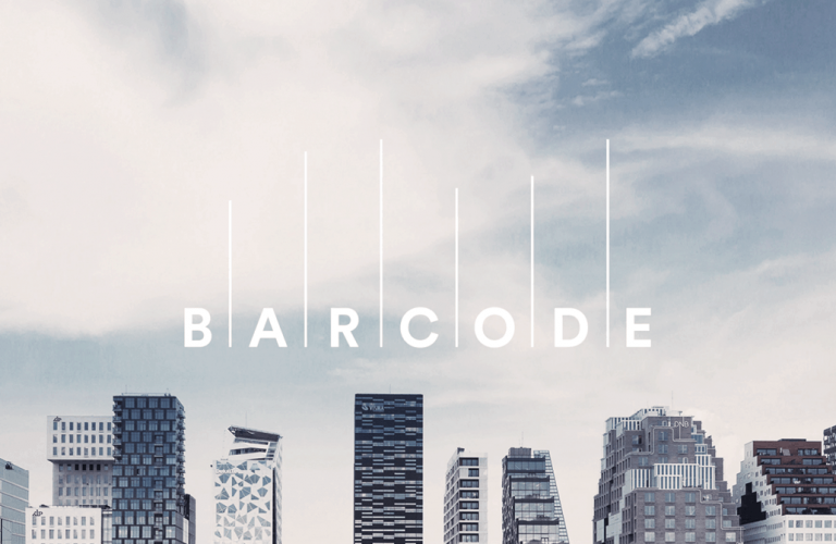 Skyline and sky of Oslo, Norway with Barcode logo in white